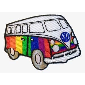 Accessories - Hippie van patch iron on rainbow retro bus DIY